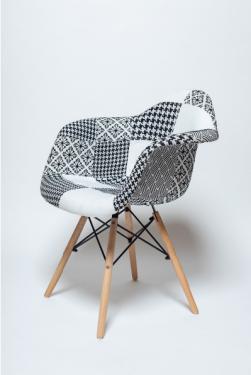 Кресло SC-020 черно-белый пэчворк