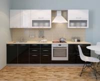 Кухонный гарнитур Фьюжн глянец черный-белый